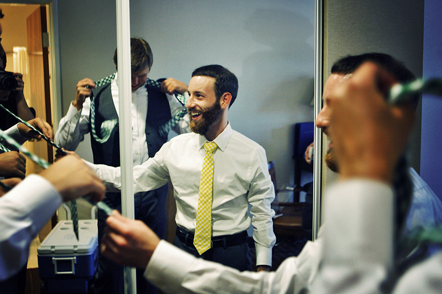 Groomsmen getting ready in the room