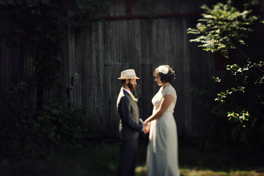 Couple posing for a photo in pretty light