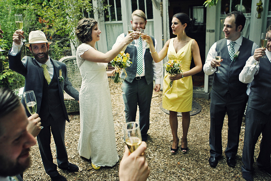 Bridal party giving a toast