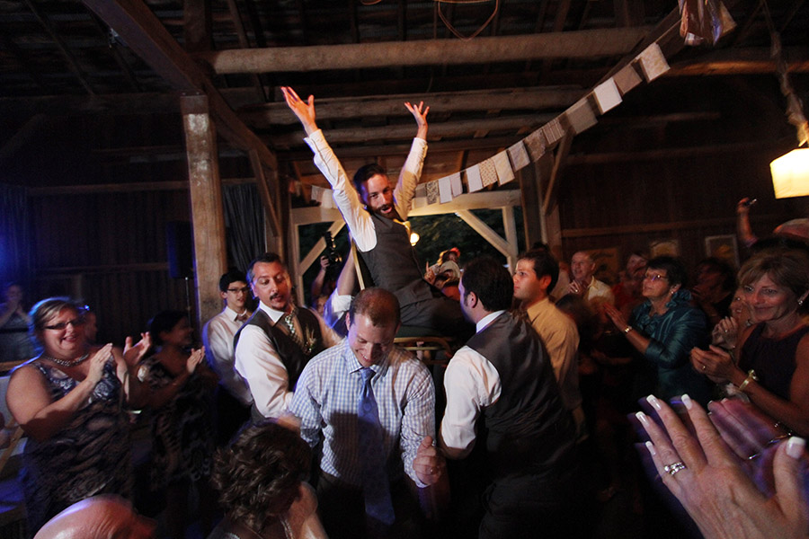 Groom being thrown into the air