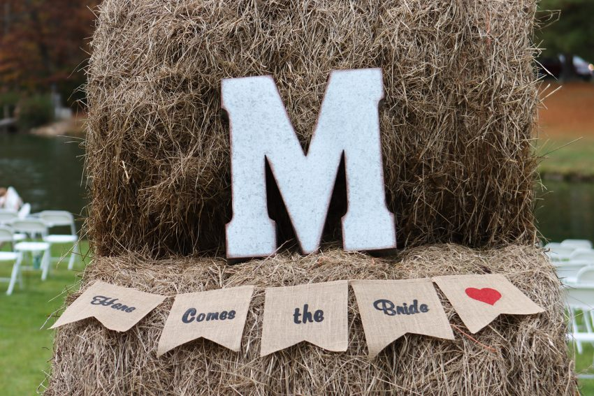 wv country wedding ceremony decorations with hay bails