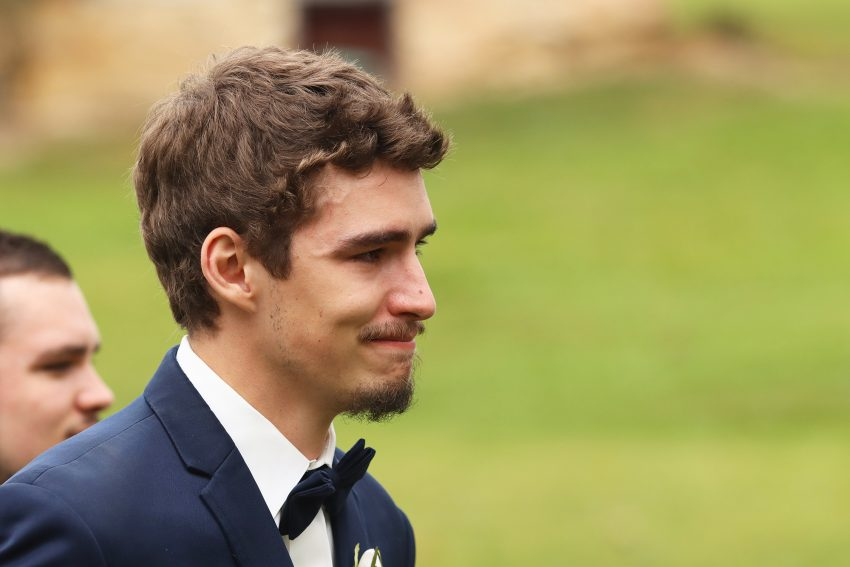 wv country wedding groom sees the bride for the first time
