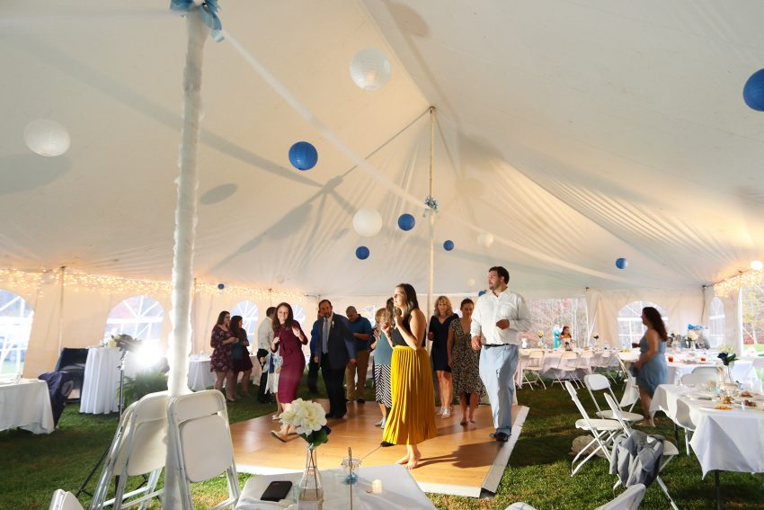 wv country wedding party dancing under a tent