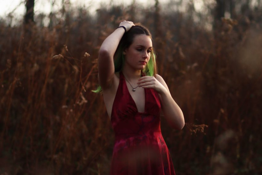 Lewisburg, WV, senior portrait of a girl in a red dress in a fall field
