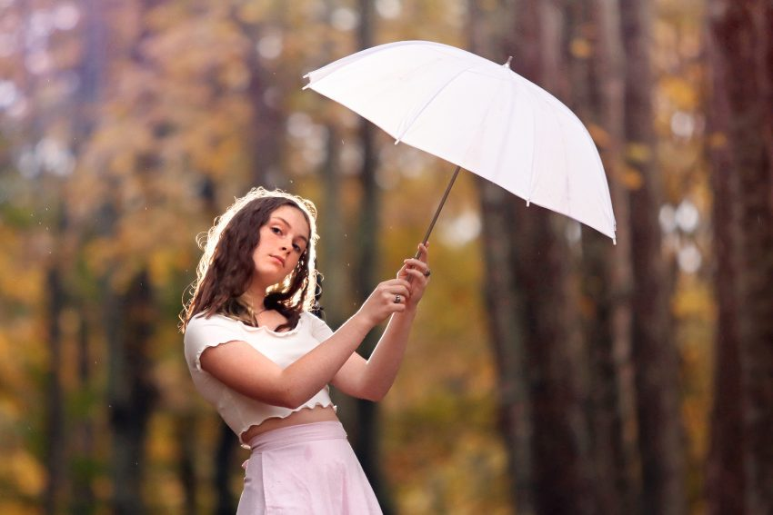 portrait of a girl holding umbrella in the woods